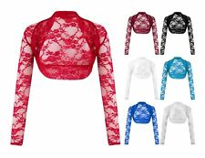 Womens Floral Lace Cropped Top Bolero Ladies Crochet Shrug Cardigan Open Front