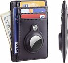 Slim Minimalist Front Pocket Wallet with Built-in Case Holder for AirTag Black