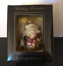FITZ AND FLOYD  SANTA Ornament Blown Glass  Holiday Treasures New Box Christmas