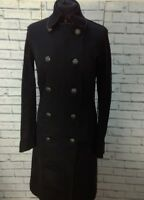 Ladies Calvin Klein Black Trench Coat Military Style Jacket - Size S / UK 10
