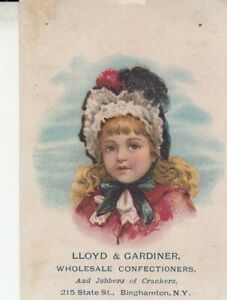 Antique trade Card Lloyd & Gardiner , 214 State St. Binghamton  NY Confectioners
