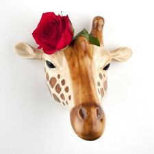More details for quail ceramics giraffe head wall mounted flower vase safari animal home gift