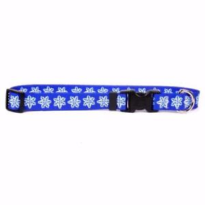 NEW Blue Dog and Cat Collar in Holiday Snowflake or Leash by Yellow Dog Design