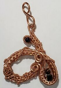 Copper Wire Weaved Pendant with Obsidian and Purple Glass Beads Handmade