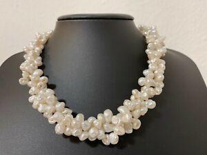 3 reihiges  Keshirzuchtperlen Keshi Perlen Collier Kette  weiß Länge 41 cm