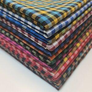 "Premium 100% Cotton Gingham 1/8"" Khadi Soft Linen Handloom Fabric 36"" By Meter"