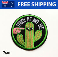 Touch Me and Die Funny Embroidered Patch - Embroidery Patches Iron Sew On Badge