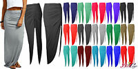WOMENS LADIES SIDE RUCHED HIGH SPLIT SEXY SIDE SPLIT JERSEY LONG MAXI SKIRT 8-14