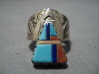 IMPORTANT RICHARD TSOSIE VINTAGE NAVAJO TURQUOISE STERLING SILVER INLAY RING
