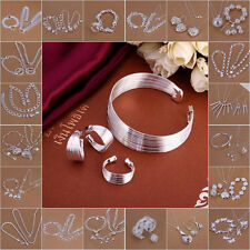 Fashion 925Silver Jewelry Set Bracelet Necklace Ring Earrings Nice Gift
