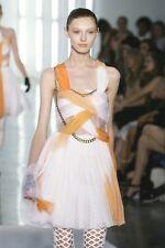 RODARTE Orange White Silk Leather Jeweled Metal Chain Dress 6 8