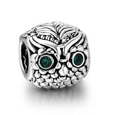 Silver Animal Charm Green Crystals Eyes Owl Bead Fit Women 925 Sterling Bracelet