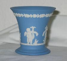Vintage Wedgwood Light Blue Jssperware Fluted Cup / Vase - Cupids or Putti 1965