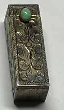 An antique 800 silver and Turquoise  lipstick case by silversmith U. Bellini