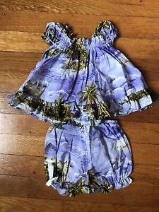 RJC Aloha Ruffle Mumu Dress & Diaper Cover Made in Hawaii 6m Cotton Purple