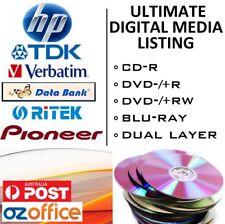 HP TDK PIONEER VERBATIM Blank CD DVD Discs Blu Ray DVD+R Dual Layer Printable CD