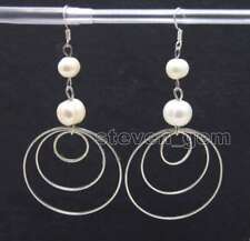 piece metal Ring 3.5'' hoop Earring-ear616 Sale 8-10mm Natural white pearl and 3