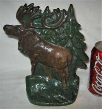 Antique Elk Moose Antler Hunting Tree Home Art Statue Doorstop Cast Iron Cabin