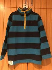 Little Joule - Long sleeve top - Striped Turquoise & Navy - Size 11-12