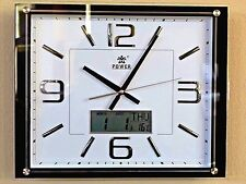 Office Analog Digital Quiet Wall Clock Date Display-0513 White