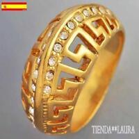 anillo mujer circonitas con oro amarillo 18K GF talla 8 usa 18 mm diametro.