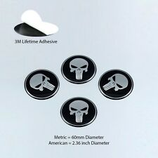 4pcs Punisher Center Cap 60mm Skull Emblem Decal Sticker Incredible Quality