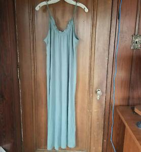 NEW - Small - DOUBLE ZERO Sea Green Maxi Dress - Sleeveless, Ruffle Detail
