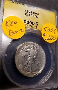 1921 Certified Walking Liberty Half Dollar,  Good6 *Key Date*, C334