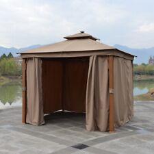 ALEKO Double Roof Gazebo with Curtains Aluminum Leg Steel Roof Frame - 10x10 ft