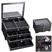 Black Jewelry Box Organizer Storage Case Clear Acrylic Lid Ring Earring Necklace