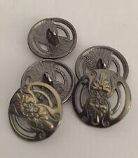 5 X 17mm Bronzed Patterned Metal Shank Buttons- Australian Supplier