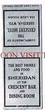 Crescent Hotel Sheridan Ida Laub Hough Wyoming Matchcover