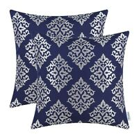 2Pcs Navy Blue Cushion Covers Pillows Case Shell Damask Floral Home Decor 18X18""