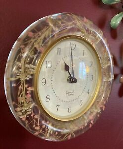 Pastoral Dwelling Wall Clock Round Dainty Floral Delight Encased in Acrylic Gem