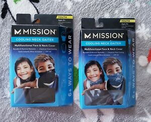 2 Mission Cooling Neck Gaiters / Face Cover  Youth 8+ Black One Size Fits Most