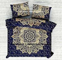 Blue Gold Ombre Mandala Bed Sheet Queen Cotton Wall Hanging Indian Bed Cover Set