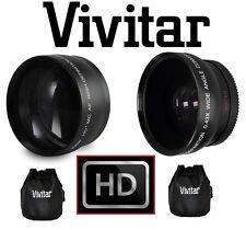 2-PC LENS SET HD WIDE ANGLE & 2.2x TELEPHOTO LENS FOR CANON VIXIA HF M500