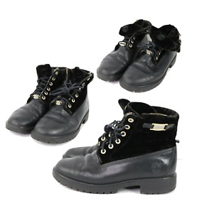 Vintage Timberland Womens 8 Velvet Leather Roll Down Boots Black Distressed