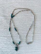 Estate Liquid Silver with Malachite Bead & Sterling Silver Marked Turtle Pendant