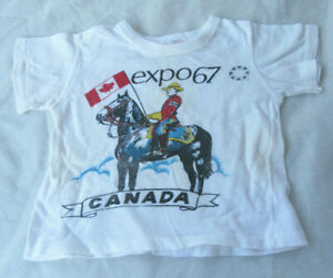 Vintage 60s Souvenir T-Shirt Canada Expo 67 2-4 years old