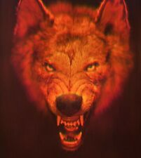 """11x16"""" 28x40cm Red Wolf - True 3D Laser Hologram Picture on Glass"""