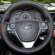 Car Hand-stitched Black Leather Steering Wheel Cover for Toyota RAV4 2013-2014