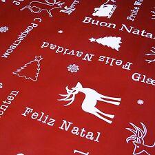 """Rouge Foncé Rouge """"JOIE DE NOEL"""" Noël à thème Nappe PVC tissu (Par mètre)"""