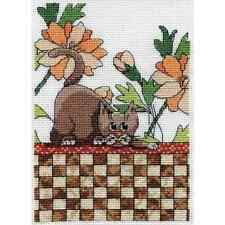 """Design Works Crafts """"BROWN CHECKERED CAT"""" Counted Cross Stitch Kit FLOWERS"""