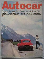 Autocar magazine 10/6/1966 featuring Jaguar E-type 2+2 road test, Indianapolis