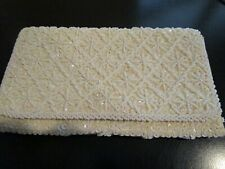 Vintage Duberry White Beaded & Sequined Handbag Clutch Purse