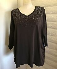 NEW  Catherines 3X Brown Sparkly Jewels 3/4 Sleeve V-Neck Blouse Tunic Tee Top