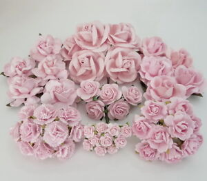 Custom 50 Pink Mixed Size Shape Mulberry Paper Flower Roses DIY Crafts A23-2