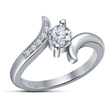 ct Bypass 14k White Gold Finish Solitaire Round Diamond Engagement Ring 1/2