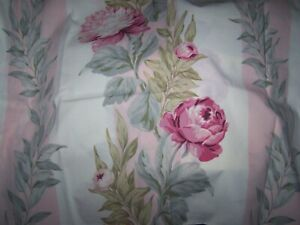 MARTEX 2 STANDARD PILLOWCASES GRAY STRIPE PINK ROSES